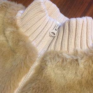 GAP Jackets & Coats - Baby Gap Beige Fuax Fur and Knit Coat